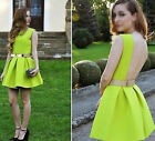 Women summer Pleated Skater Skirt backless Cocktail Party Mini Neon Swing Dress