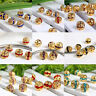10x 6mm 8mm Crystal Rhinestone Spacer Loose Beads Flower Gold Plated Ball