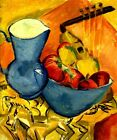 STILL LIFE WITH PITCHER AND AFRICAN BOWL PAINTING BY ERNST LUDWIG KIRCHNER REPRO