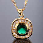 Lady Fashion Jewelry *18Mm Red Garnet Yellow Gold Tone Ruby Pendant Necklace