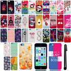 For Apple iPhone 5C Light Lite Design PATTERN HARD Case Back Phone Cover + Pen