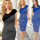 Women Sexy V-neck Striped Party Cocktail Evening Formal Tunic Pencil Midi Dress
