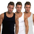 Mens 3 Pack Fitted Vests Pure Cotton Gym Top Summer Training S M L XL 2XL