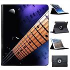 Electric Guitar with Sheet Music Folio Wallet Leather Case For iPad 2, 3 & 4