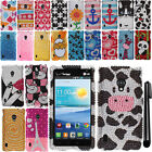 For LG Lucid 2 VS870 DIAMOND BLING CRYSTAL HARD Protector Case Phone Cover + Pen