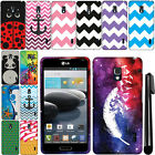 For LG Optimus F6 D500 MS500 Zig Zag Design PATTERN HARD Case Cover Phone + Pen