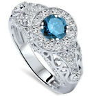 1.50 cttw Blue Diamond Vintage Style Halo Deco Engagement Ring 14K White Gold