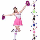 HIGH SCHOOL SPORTS TEAM CHEERLEADER GIRL UNIFORM COSTUME OUTFIT + POM POMS