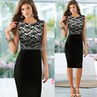 New Women's Ladies Sexy Lace Bodycon Party Pencil Cocktail Dresses Uk Size 6-14