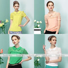 Slim Women Summer Hollow Out Lace Chiffon Short Sleeve T-Shirt Top Blouse Casual