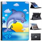 Smiling Dolphin Jumping Out of Water Folio Leather Case For iPad Air & Air 2