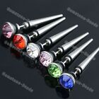 Pair Stainless Steel CZ Crystal Ear Stud Plugs Spike Taper Fake Cheater Earring