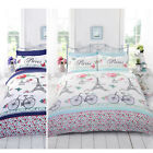 French Chic Paris Duvet Cover Girls Floral Rose Butterfly White Bedding Bed Set
