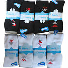 12 Pairs Mens Fresh Feel Authentic Sports Socks Cotton Rich Big Foot 11-14