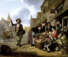 THE GREENGROCER VEGETABLES FRUITS DUCK SELLER 1654 PAINTING BY JAN VICTORS REPRO