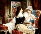 TWO FRIENDS YOUNG GIRLS TALKING PAINTING BY CARL SCHWENINGER JR REPRO