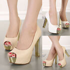 Ladies Snakeskin Peep Toe Block High Heels Platform Classic Pumps Prom Shoes