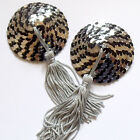 BURLESQUE Sequin Nipple Tassels Covers Pasties - Black & Silver / Silver-Grey
