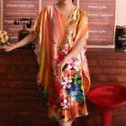 R8 -  Free Plus Size Silky Floral Print Sleep Robe Pajama Kaftan Caftan Dress