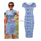 Womens Vintage Round Neck Bodycon Slim Casual Career Office Party Pencil Dress