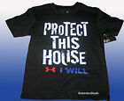 """UNDER ARMOUR BOYS """"PROTECT THIS HOUSE"""" BLACK LOOSE FIT TEE SIZE 5 SHIRT NEW"""