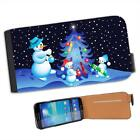 Snowman Family Decorating Xmas Tree Leather Flip Case for Samsung S4