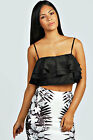 Boohoo Womens Alexis Frill Overlay Woven Crop Strappy Swing Cami Sleeveless Top