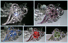 VTG-D CRYSTAL FLOWER BROOCH PIN~CLEAR PURPLE RED GREEN~MOTHER OF THE GROOM  GIFT