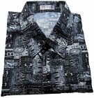 Mens Thai Silk Shirt  Short  Sleeve / M-XXXL / Black & White Pattern / no.3