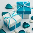 WHITE GLOSSY AND TURQUOISE SQUARE BOX AND LID WEDDING BOXES - CHOOSE QUANTITY