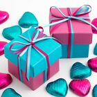 TURQUOISE AND FUSCHIA SQUARE BOX AND LID WEDDING FAVOUR BOXES - CHOOSE QUANTITY