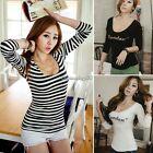 Sexy Women Pure Cotton V-Neck Stretchy long sleeve Tee T-shirt Tops Blouse C1MY