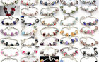 Handmade Lampwork Beads & Charms & Silver Plated European Charm Bracelet UK A