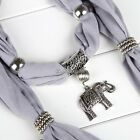 Alloy Elephant Pendant 8 Colors Necklace Scarves Vintage Ring Jewelry C1MY