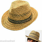 NEW Classic Natural Straw Trilby Sun Summer Hat Fedora Style Smart Mens Ladies