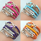 Hot  Infinity Leather Friendship Charm Bracelets Pearl LOVE Wig Couple Gift DIY