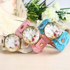 New  Orchid Flower Painted Leatheroid Band Womens Watch Quartz Wristwatches Gift