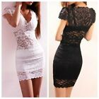 New! Women Summer LACE Hollow Short Sleeve V-neck Mini Bodycon Cocktail Dress LA