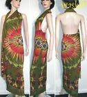 JEAN PAUL GAULTIER SOLEIL green PARROT feather HALTER shawl dress NWT Authentic!