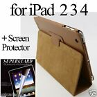 Faux Leather Stand Case Smart Sleep Cover For New iPad 2 3 4 Retina + Free Film