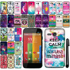 For Motorola Moto G Falcon XT1032 Cute Design PATTERN HARD Case Back Cover + Pen