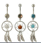 Hot Collections Double Gem Dream Catcher Dangle Belly Barbell Button Bar Ring