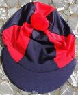 Riding Hat Silk Skull cap Cover NAVY BLUE & RED With OR w/o Pompom