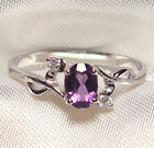 Genuine Faceted Oval Amethyst .925 Sterling Silver Ring -- AMT106