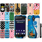 For Huawei Vitria H882L Y301-A2 PATTERN HARD Case Phone Cover Accessory + Pen