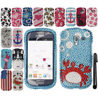 For Samsung Galaxy Exhibit T599 BLING CRYSTAL HARD Case Phone Cover + Pen