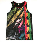 KONFLIC RASTA LION TANK TOP SHIRT WEED POT LEAF SUN OUT GUNS OUT URBAN MENS WEAR