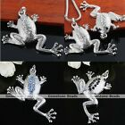 1PC Silver Plated Crystal Rhinestone Animal Frog Bead Charm Pendant Fit Necklace