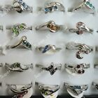 15pcs-50pcs wholesale jewelry multicolor Rhinestone silver Plated Ring free ship