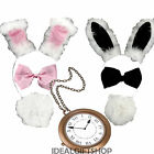 WHITE BUNNY RABBIT SET EARS + TAIL + TIE +CLOCK BOOK WEEK WONDERLAND FANCY DRESS